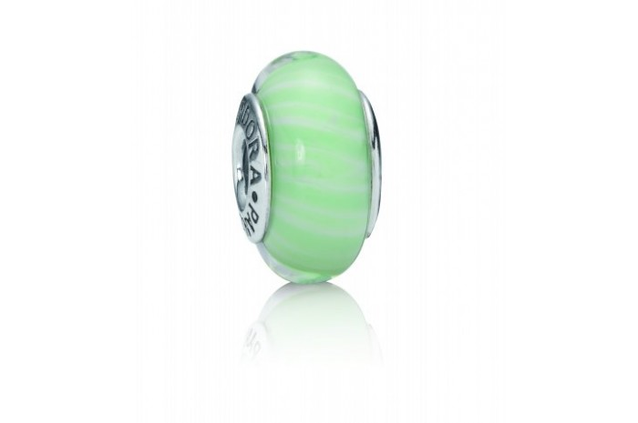 Abalorio de Cristal de Murano Líneas Verde Pastel